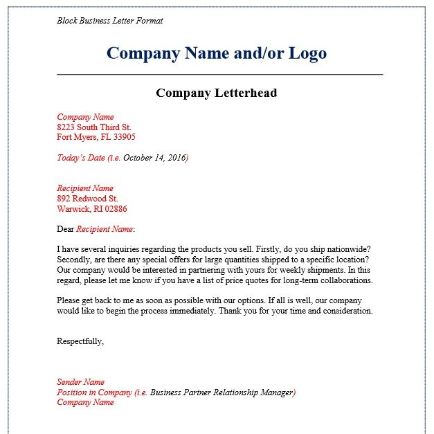 Business Letter Format Examples Templates Assistant New Calendar