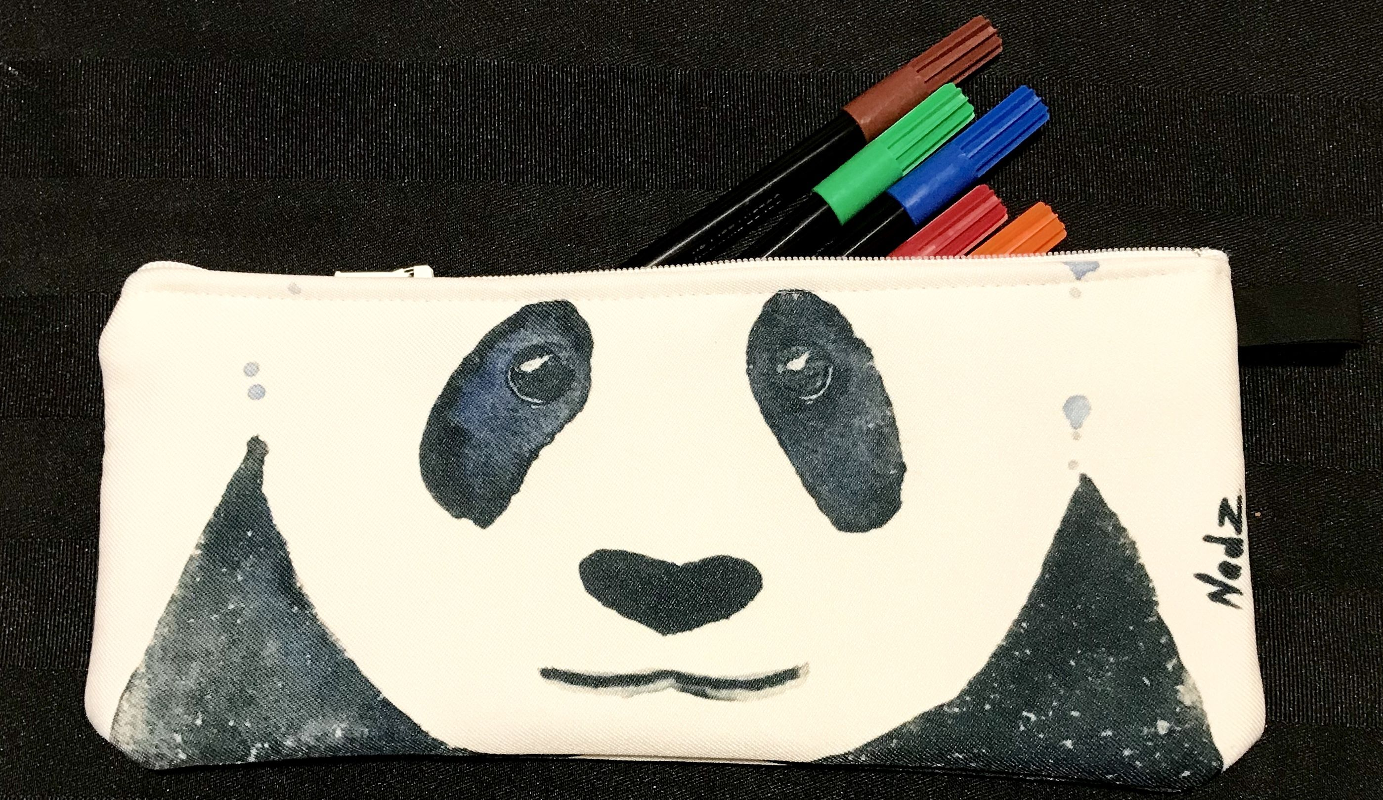 Pencil Case Panda Gift Idea Makeup Bag Watercolor Handmade