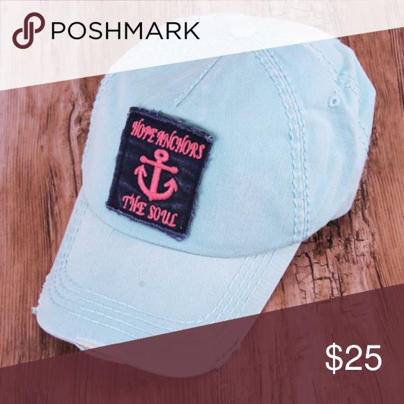7ae8397c60e Mint Distressed  Hope Anchors The Soul  Cap Distressed baseball cap with  patch  reads