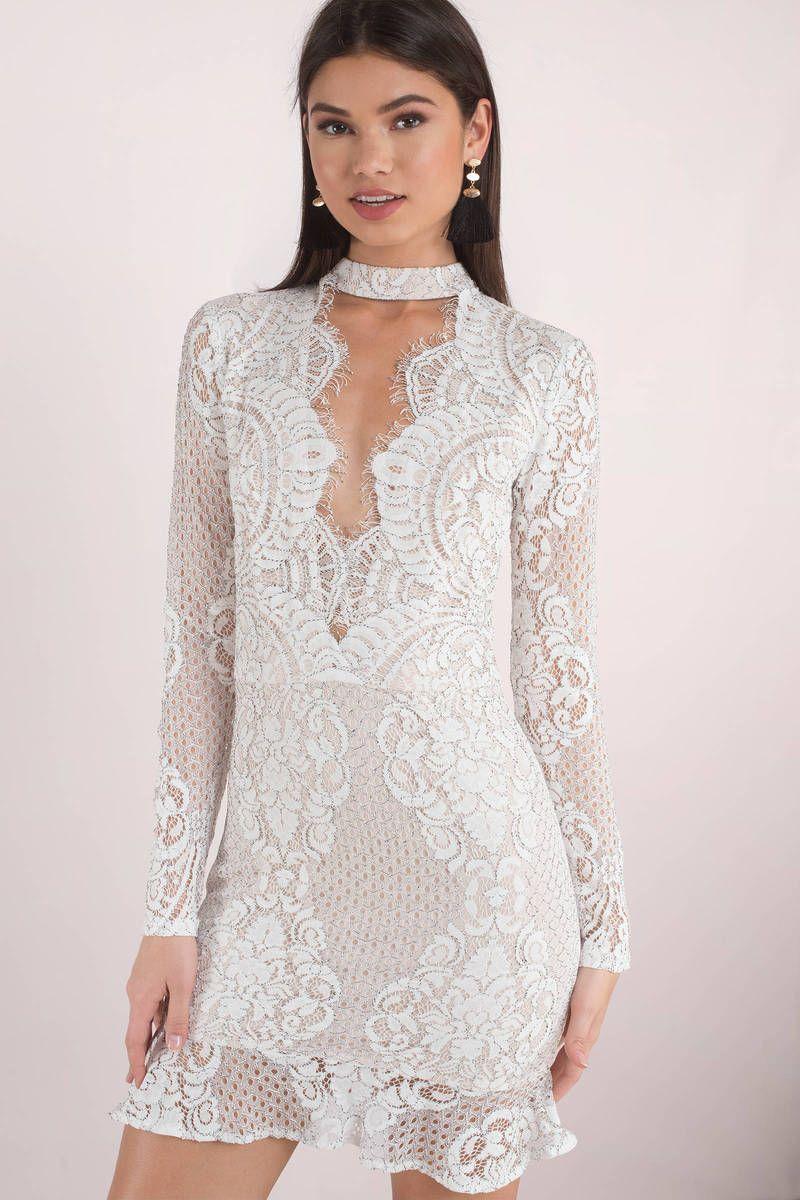 8c51e2bcd17c Delilah Choker Lace White Bodycon Dress