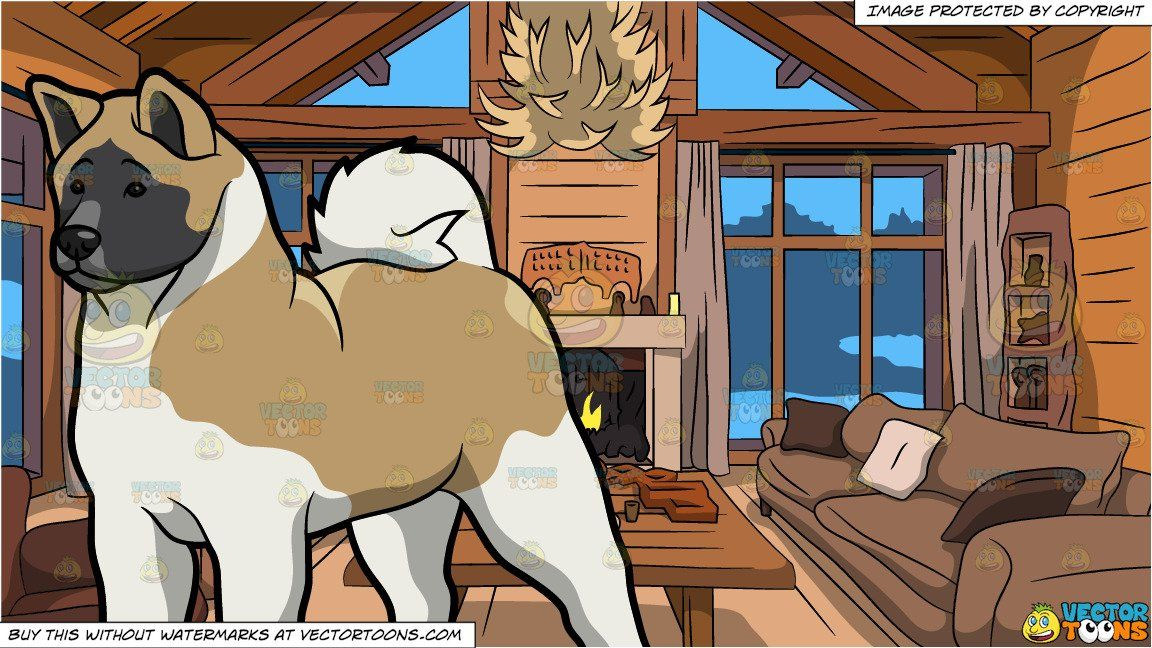 Photo of An Observant Akita Dog and Wood Cabin Living Room Background