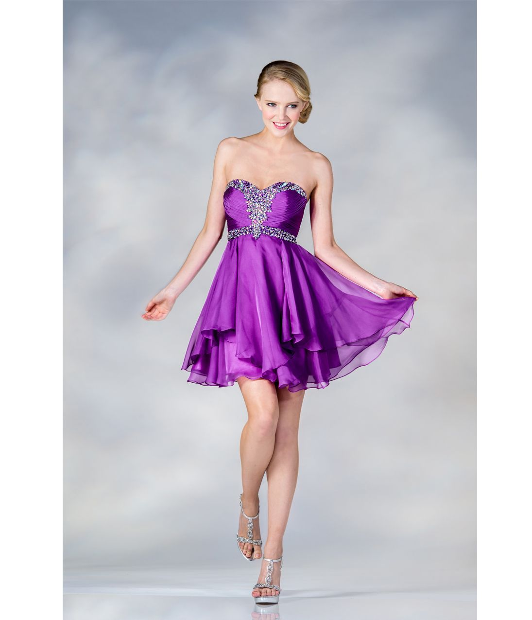 2017 Prom Dresses Light Purple Chiffon Sweetheart Short Dress Unique Vintage Tail