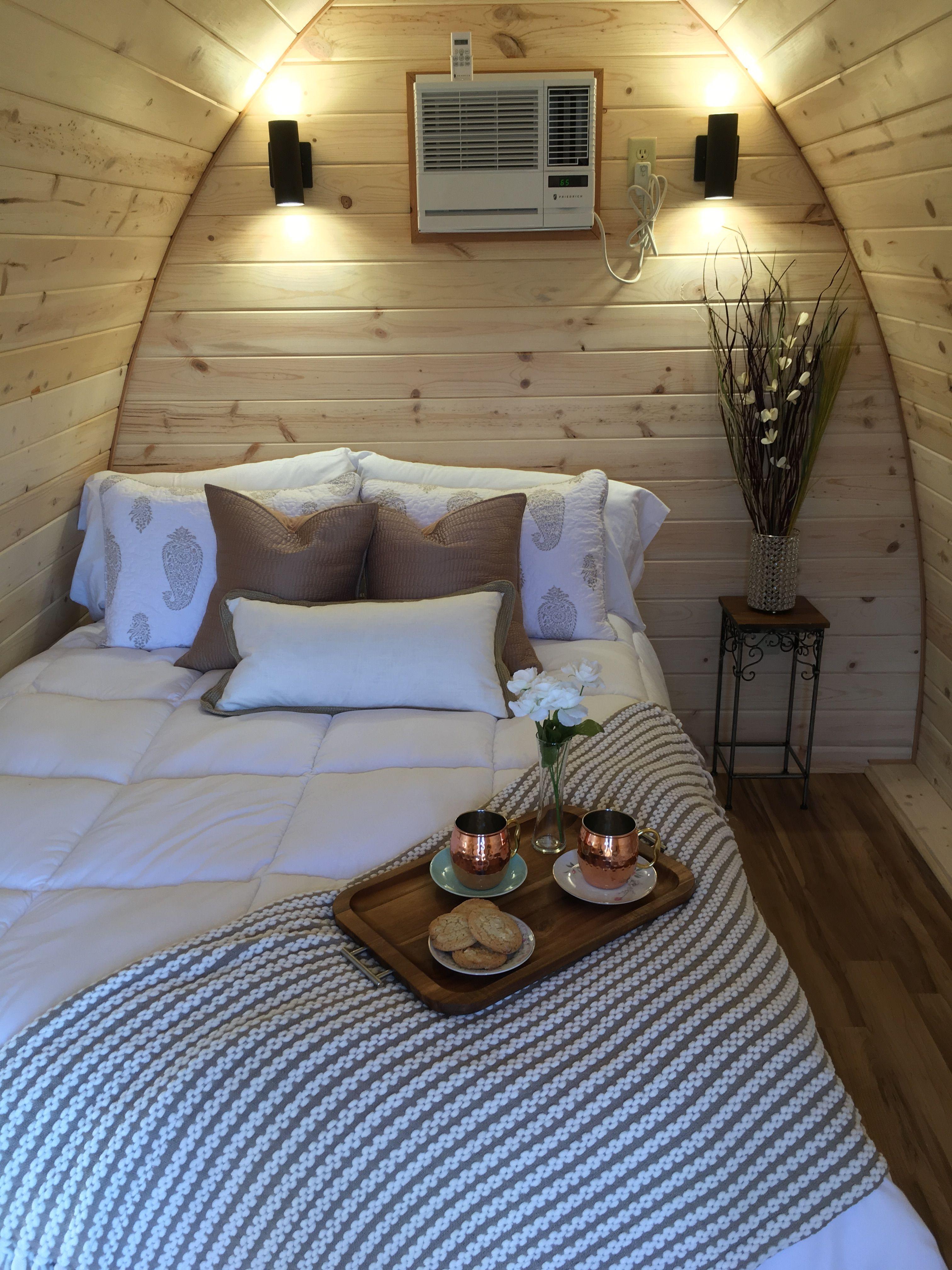 Interior decor Glamping pod  in 2019 | Camping pod, Cabin
