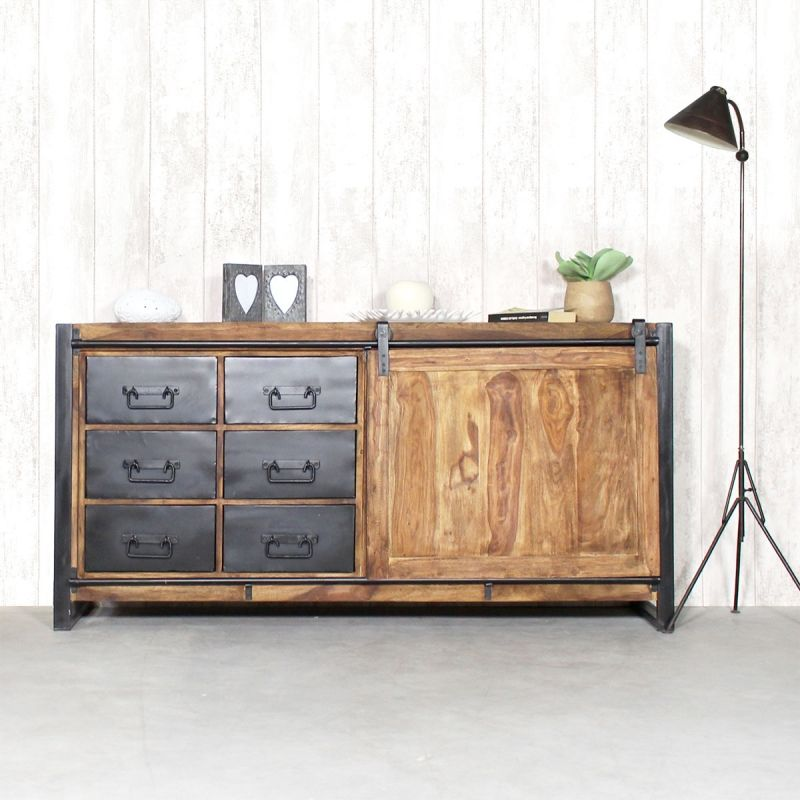 buffet industriel porte coulissante bois naturel 6 tiroirs m tal buffet industriel. Black Bedroom Furniture Sets. Home Design Ideas