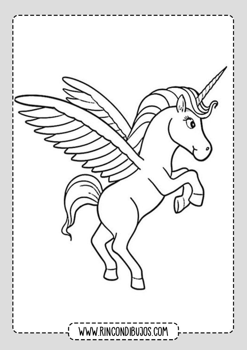Dibujos De Unicornios Con Alas Rincon Dibujos Dibujos De Unicornios Paginas Para Colorear De Animales Libro De Dinosaurios Para Colorear