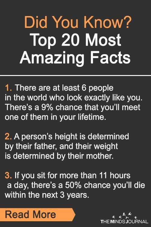 Did You Know? Top 20 Most Amazing Facts Did You Know? 20 Amazing Facts you Didn't knew that will blow your mind! Your shoes are the first thing people subconsciously notice about you.