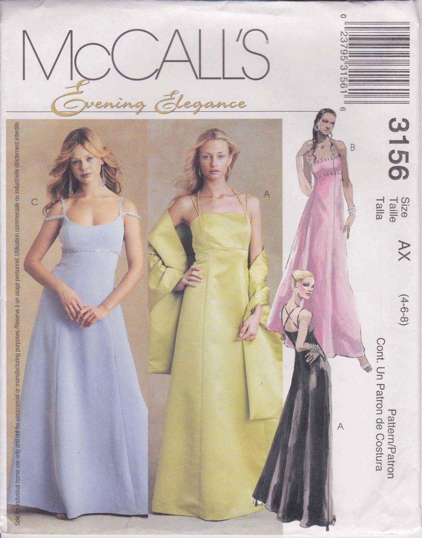 Formal dress evening gown prom long dress size uncut mccalls