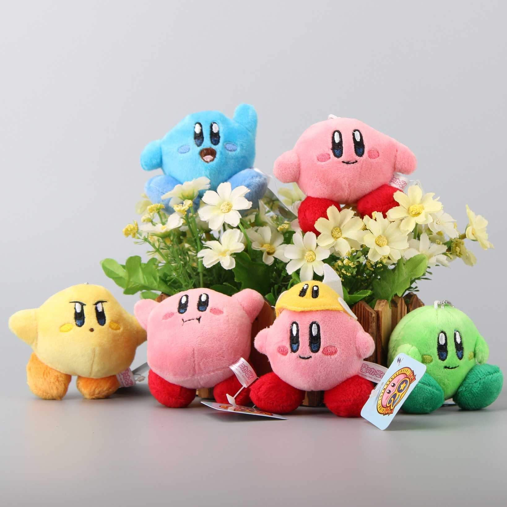 pcsset star kirby plush toys cute keychain popopo small pendant