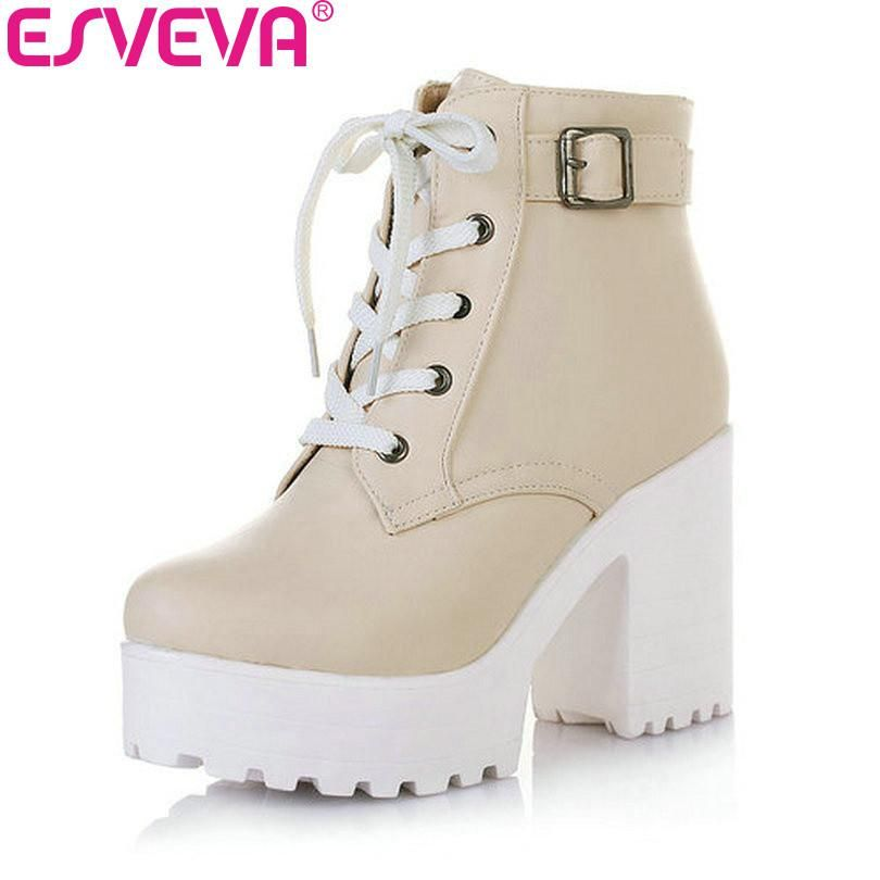 af8d4a7b9f72 ESVEVA 3 Color Winter Lace-Up Sexy Women Boots Fashion Platform punk high  square heels Black Buckle Ankle boots Plus Size 34-43