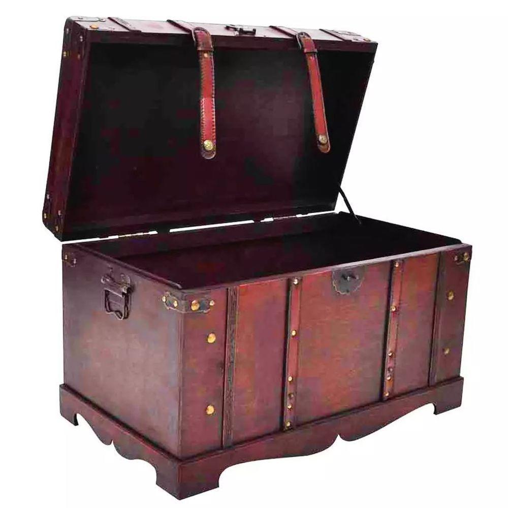 Wooden Treasure Chest Box Storage Vintage Pirate