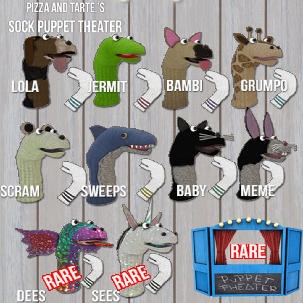 Pizza And Tarte Sock Puppets Puppets Kids Rugs