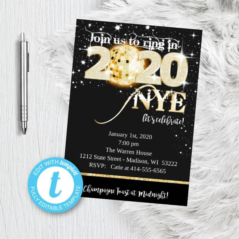 Gold New Years Eve Invitation NYE Party Invitation