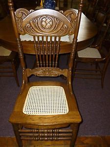 Antique Oak Pressed Back Chair Cane Seat Refinished Restored My