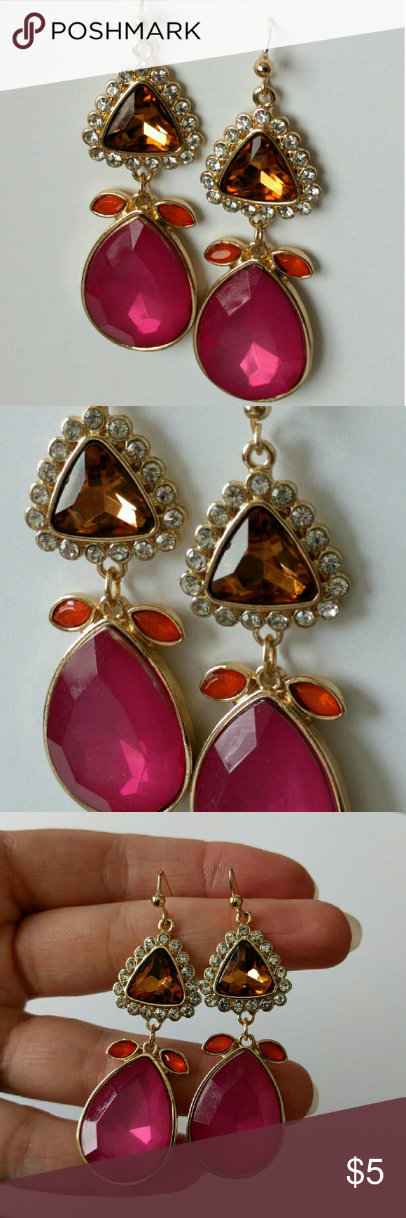 """Sparkling sorbet drop earrings Color and sparkle!  Candy-hued cabochons are topped off by crystal accents for a look that's unforgettable!  Worn once for an afternoon and in excellent condition!  Beautifully made with a good weight.  About 2.5"""" long.  Price firm and extremely reasonable, but bundle and save 10%! Shoplately Jewelry Earrings"""