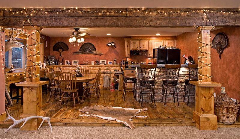 rustic log cabin man caves rustic lower level bar and game room