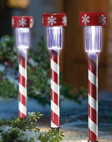 One Candy Cane Solar Garden Path Light Stake By Moonrays