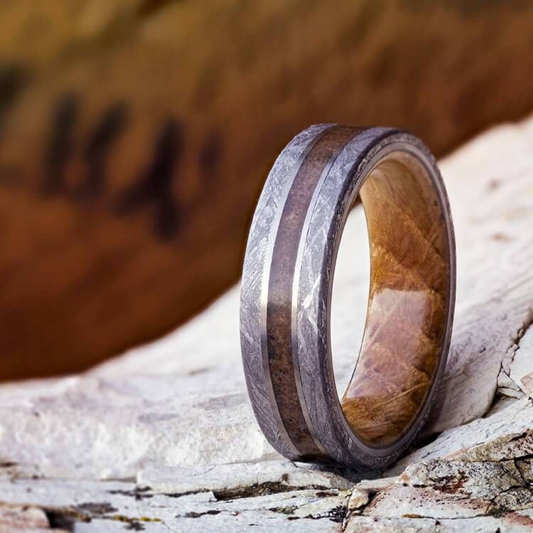 Wood Wedding Ring Wooden Ring Unique Whiskey Barrel Ring Mens Wedding Band Whisky Barrel Ring Silver Tungsten Wedding Band Mens Ring