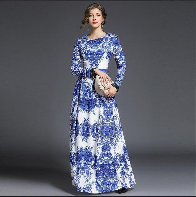 d107e849bc2 2018 Spring women Bohemian Blue and white porcelain print dress long Sleeve  slim Floor-Length Dresses lady party long dress