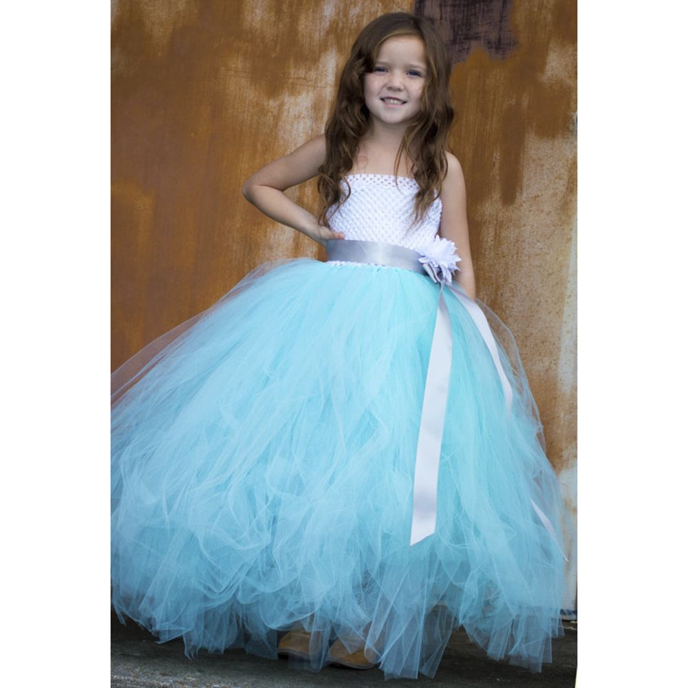 Click to Buy << Pageant Elegant Aqua Couture Flower Girl
