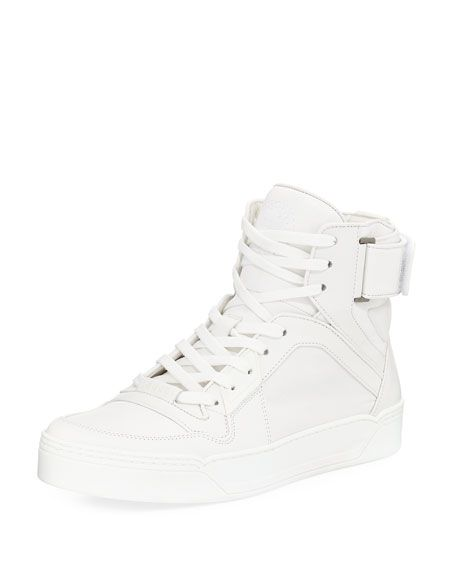 c88ecaf44e3 GUCCI MEN S LEATHER BASKETBALL HIGH TOP