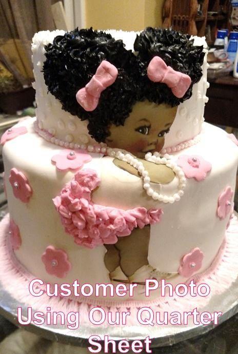 92e471836 PRE-CUT Pink Gold Crown Ballerina Vintage Baby EDIBLE Cake Topper ...