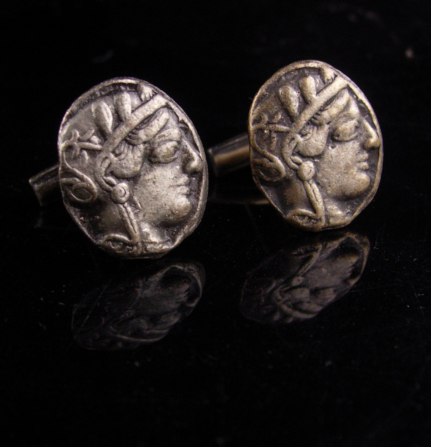 Vintage Greek Coin 1960s Mid-Century Vintage Gold-Tone Greek Coin Cuff Links Athena Cufflinks