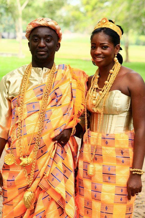 Ghanaian Bride And Groom In Traditional Dress