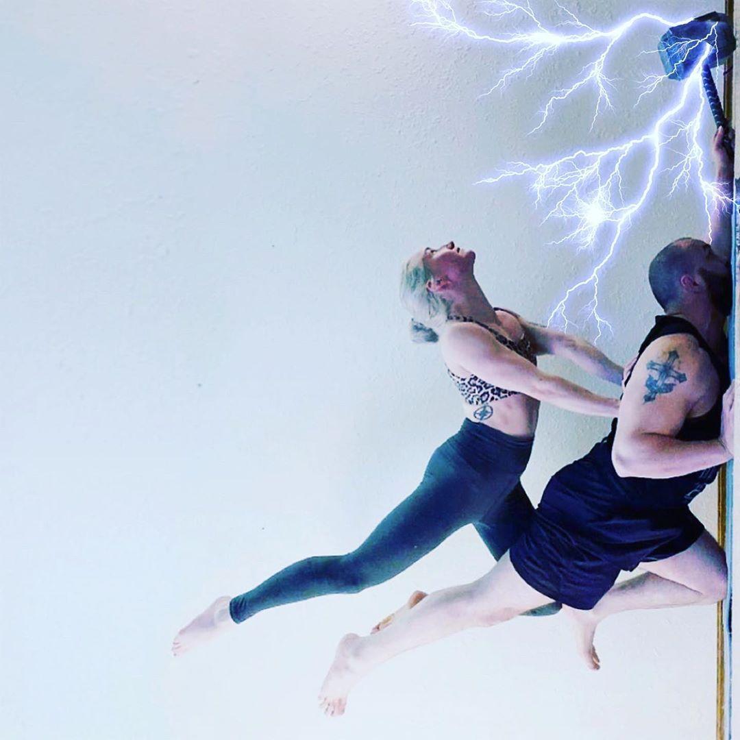 Super acro with the wife. Channeling our inner Thunder God.  #yoga #yogacouple #acro #acroyoga #acro...