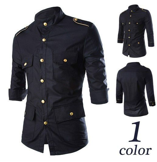 Korean Fashion Collar Men's Slim Fit Solid Shirts Classic Casual Blouse Tops