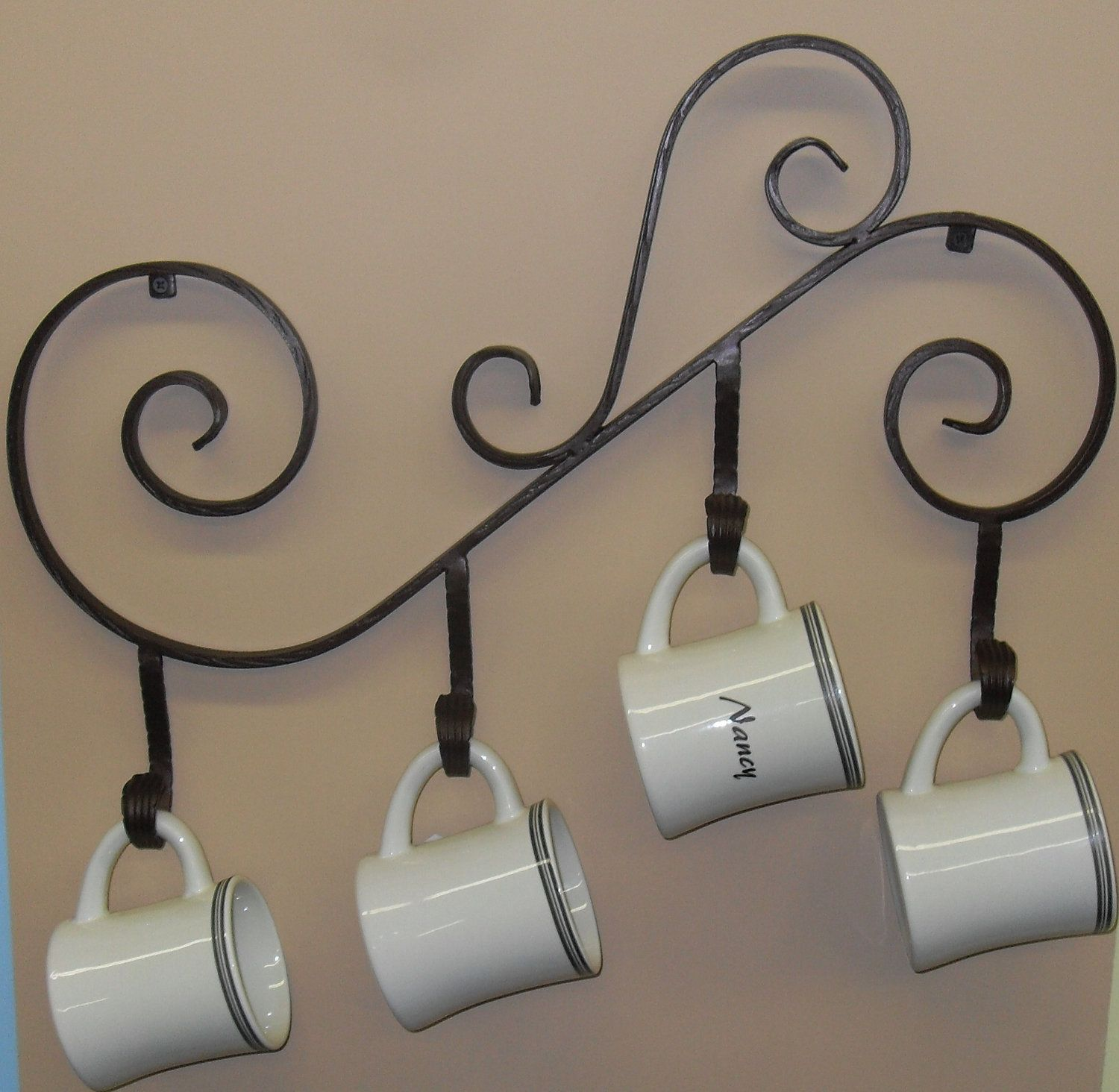 coffee mug holder wall mounted made out of wrought iron