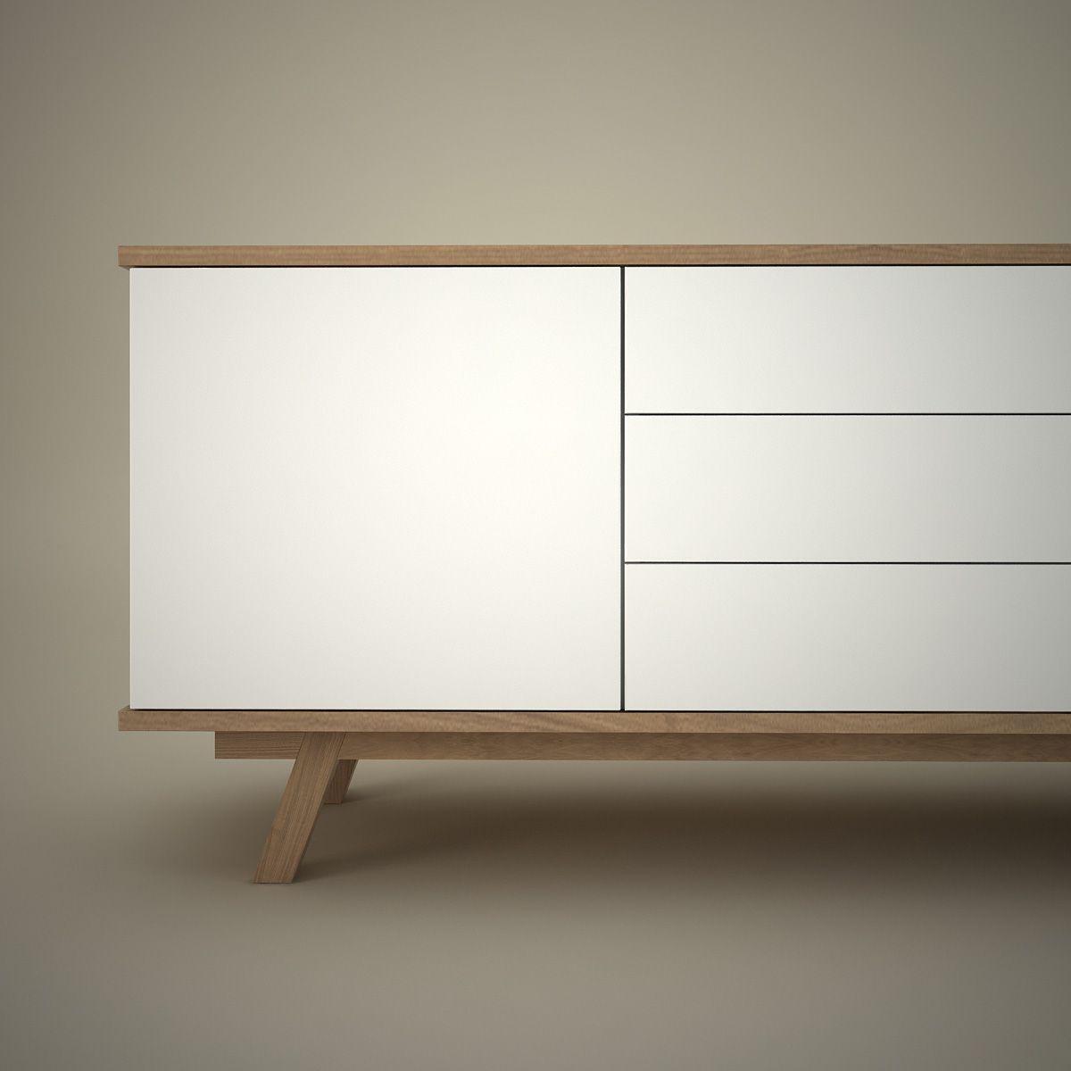 Modernes Design Sideboard STOCKHOLM 200cm Weiß Wendbare Front Sonoma Eiche    Das Skandinavisch Angehauchte Sideboard STOCKHOLM Verbindet Cleveres Du2026  ...