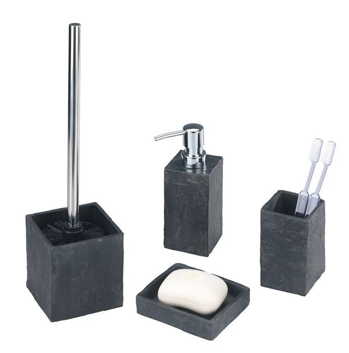 Slate Rock Badzubehor Set In Schieferoptik Bad Accessoires Set Badezimmer Set Schiefer Badezimmer