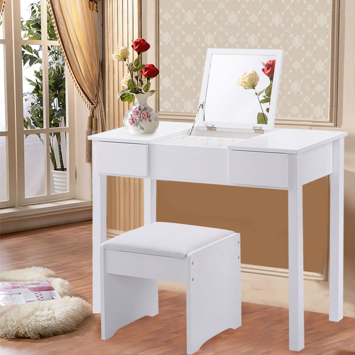 modern bedroom vanity table set in white with mirror and