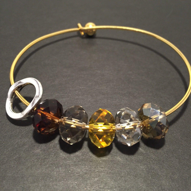 Bangle Bracelet Gold Bracelet Add a Charm Crystal Bracelet Swarovski Crystal Jewelry Gold Jewelry Gold Bangle Bracelet Crystal Beads Beaded by HandmadewLovebyKCN on Etsy