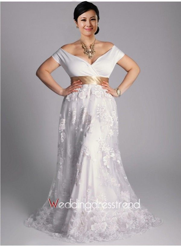 Beautiful Off-the-shoulder Plus Size Sashed Wedding Dress - the Best ...