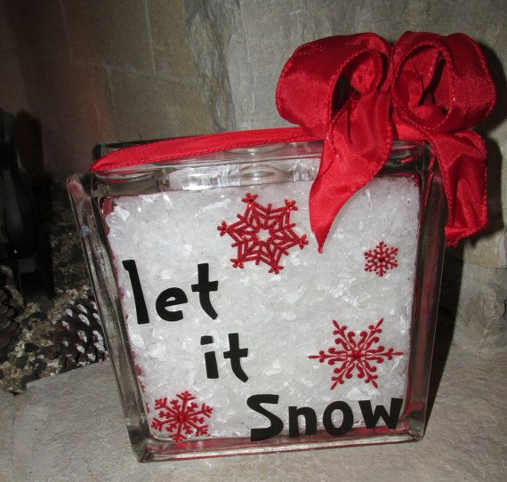 Unique Gifts Christmas: Unique Christmas Gift -- Let It Snow -- Glass Block