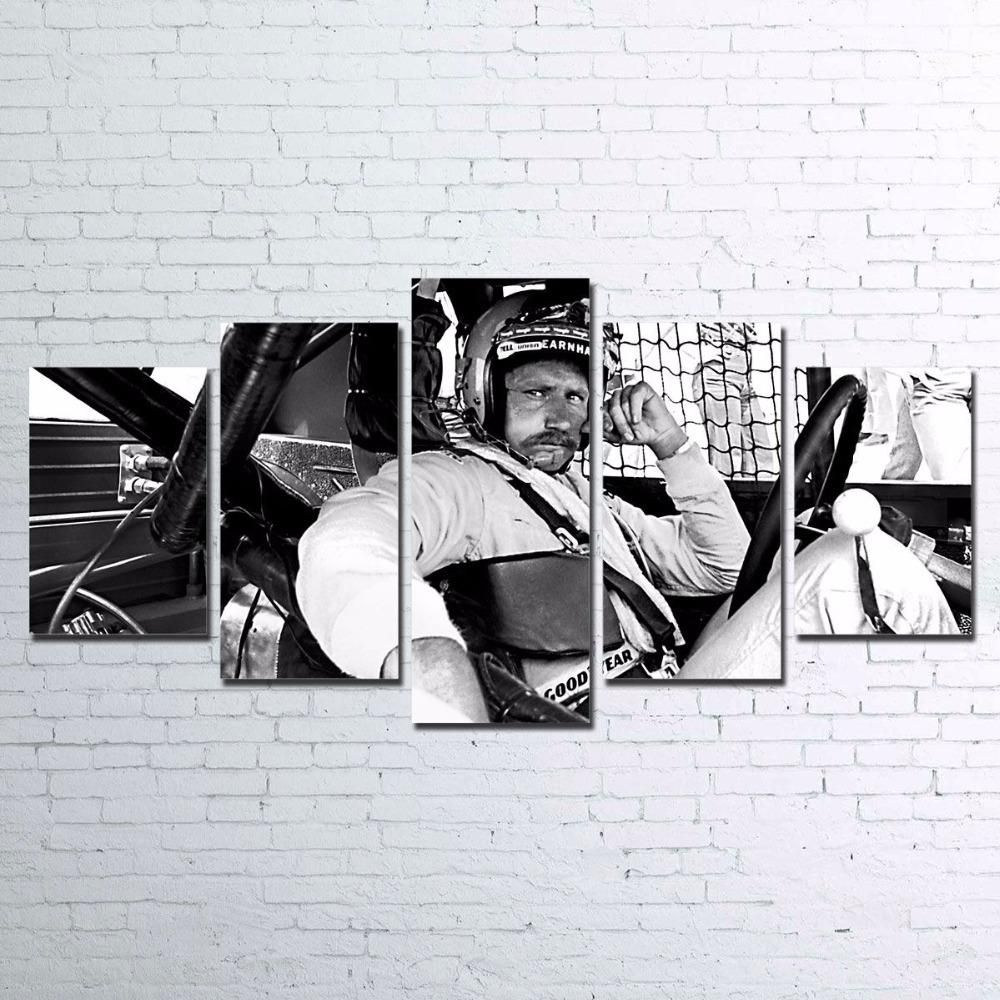 Dale Earnhardt Black And White Racing Nascar Five Piece Canvas Medium Unframed Customized Canvas Art Canvas Art Wall Decor Wall Canvas