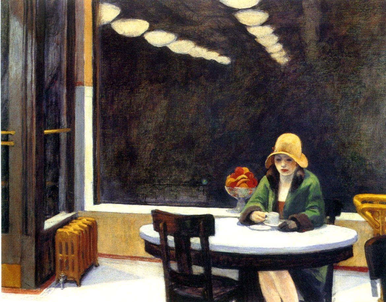 woman drinking coffee painting - Google Search | Edward hopper, Pinturas de  edward hopper, Ideias para pintura