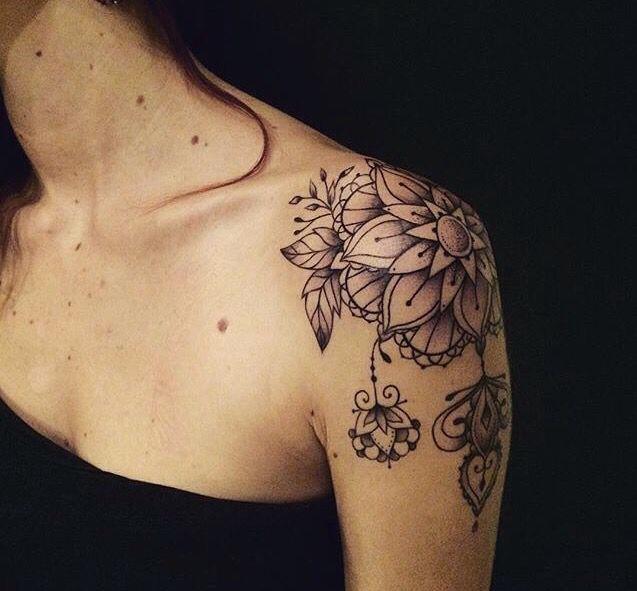 Flower Vintage Shoulder Tattoo