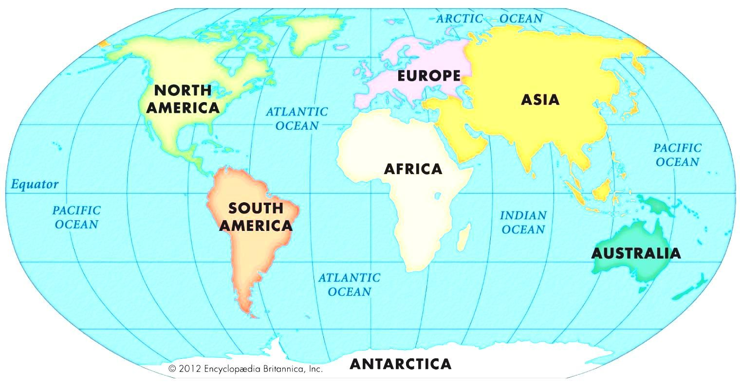World Political Map With Oceans And Continents