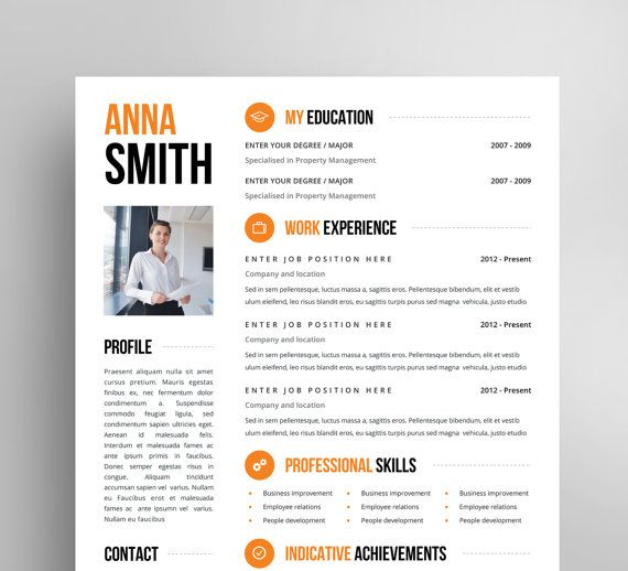 Resume Template No 3 Free Cover Letter Instant Download Creative Microsoft Word Elegant Minimal Modele De Cv Creatif Modele Cv Cv Creatif