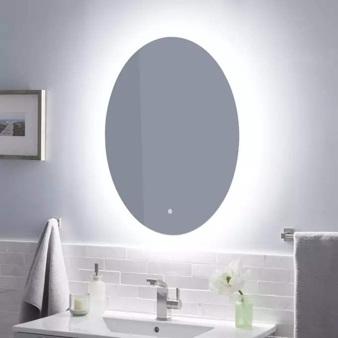 Fahlman Oval Lighted Mirror With Tunable Led Round Mirror Bathroom Bathroom Mirror Lights Bathroom Mirror