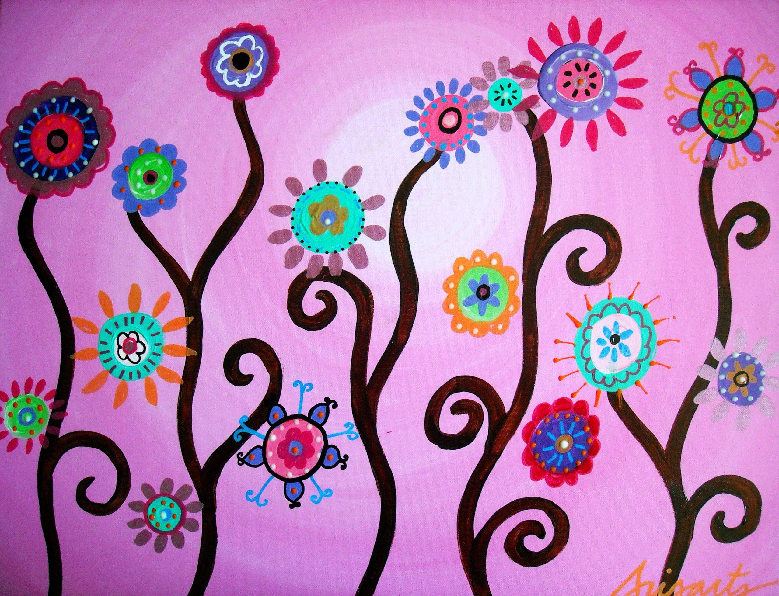 Flowers Mexican Folk Art Mexican Folk Art Painting Folk Art Flowers