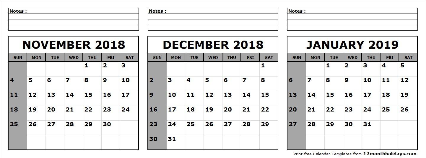 3 month calendar november december 2018 january 2019 printable leere kalender 2019 kalender 3