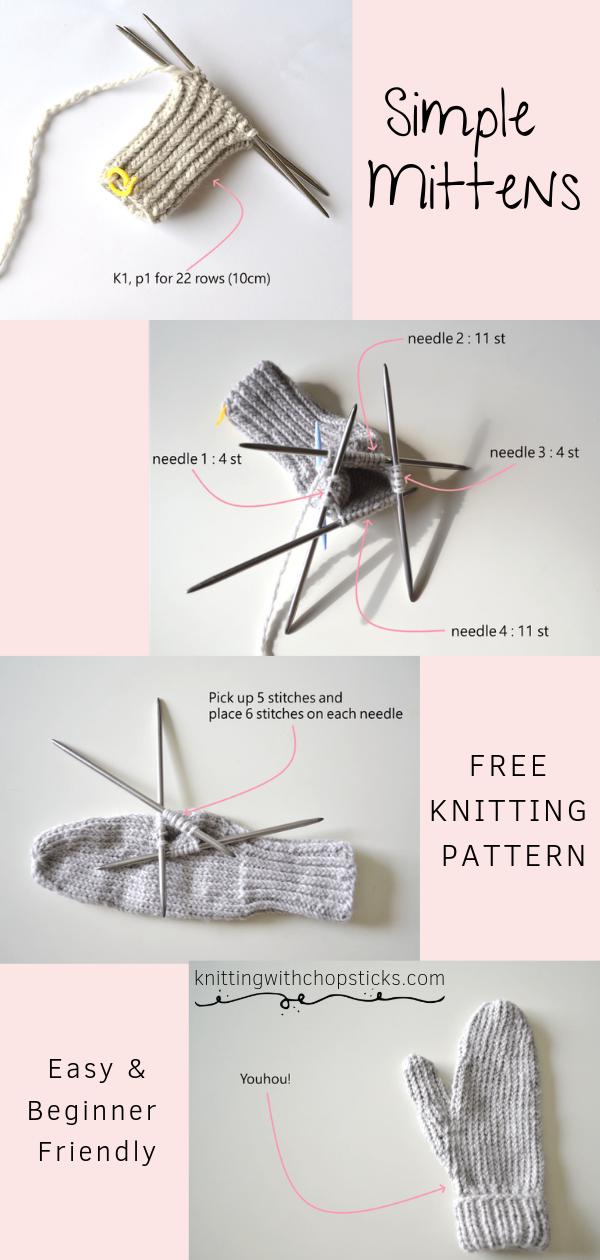 Photo of Simple Mittens Free Knitting Pattern