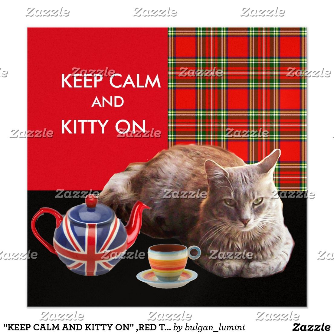 Quot Keep Calm And Kitty On Quot Red Tartan Cat Tea Party