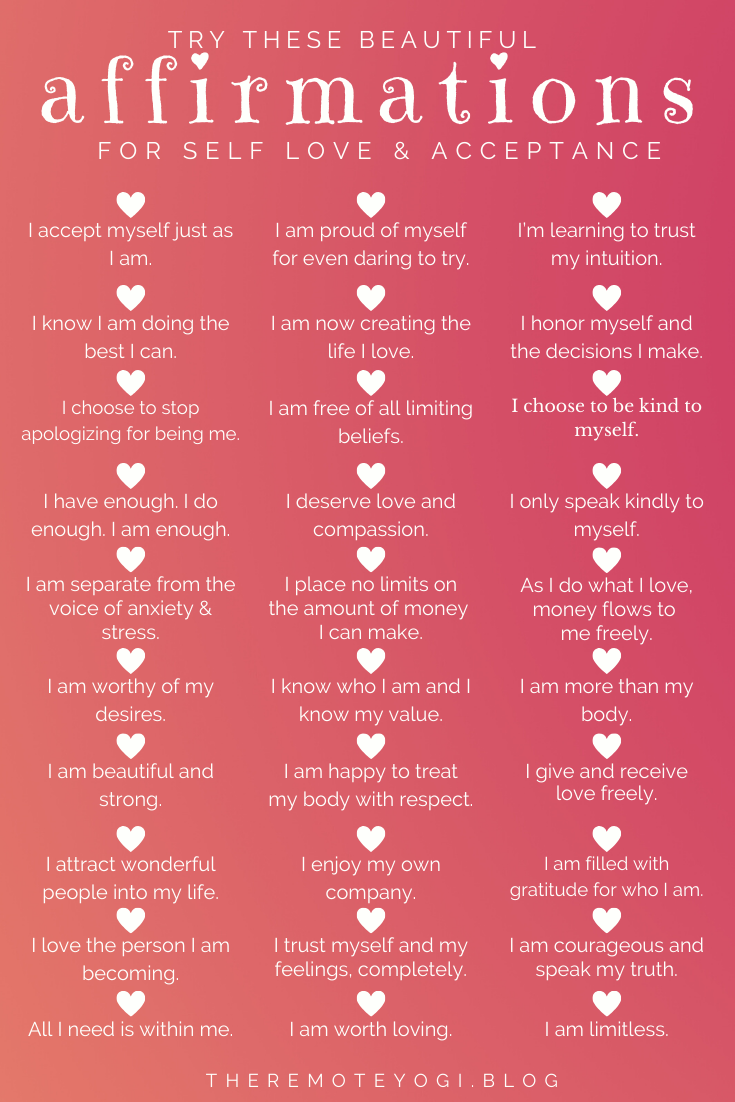 50+ Affirmations for Self Love & Acceptance
