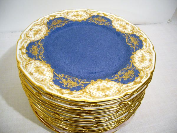 Set of 16 Royal Doulton blue fluted dinner plates with raised gilding & royal doulton gold plate - Google Search | royal doulton ...