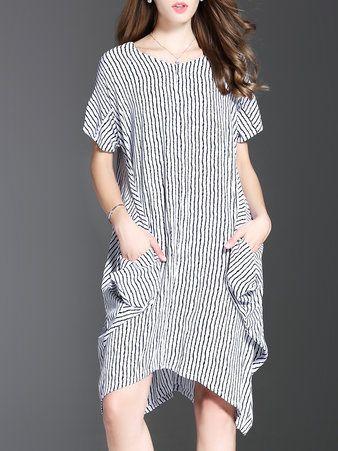 White Pockets Short Sleeve Cotton Midi Dress