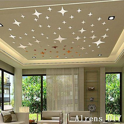 Alrens_DIY(TM) 50pcs Bling-bling Stars DIY Acrylic Removable Decorative Mirror Surface Crystal Wall Stickers 3D Home Decal Room Murals Wall Paper Decor Gift